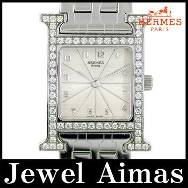 【HERMES】エルメスHウォッチラムサス純正ダイヤベゼルアイボリー文字盤SSステンレスレディースクォーツHH1.230【中古】【腕時計】