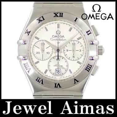【OMEGA】オメガコンステレーションクロノグラフ1542.30デイトシルバー文字盤SSステンレスメンズクォーツ1542-30【中古】【腕時計】