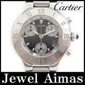 【Cartier】カルティエ マスト21 ヴァンティアン クロノスカフ デイト Q10125U2 ブラック 文字盤 SS ステンレス ラバー メンズ クォーツ【中古】【腕時計】