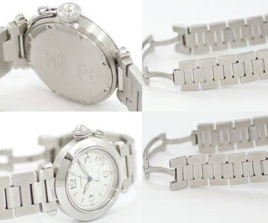 【Cartier】カルティエパシャCW31015M7ホワイト文字盤SSステンレスレディースボーイズメンズユニセックス自動巻き【】【腕時計】
