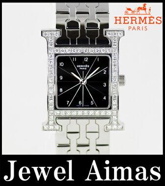 【HERMES】エルメスHウォッチラムサス純正ダイヤベゼルブラック文字盤SSステンレスレディースクォーツHH1.230【】【腕時計】