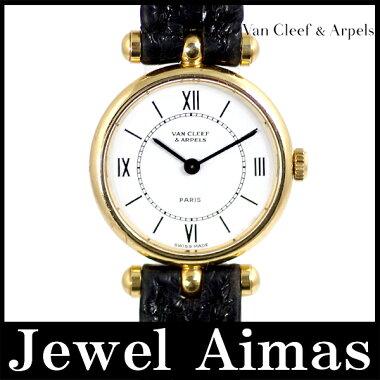 【VANCLEEF&ARPELS】ヴァンクリーフ&アーペルラコレクションラウンドホワイト文字盤75018KYGイエローゴールド金無垢純正レザーストラップレディースクォーツ【中古】【腕時計】