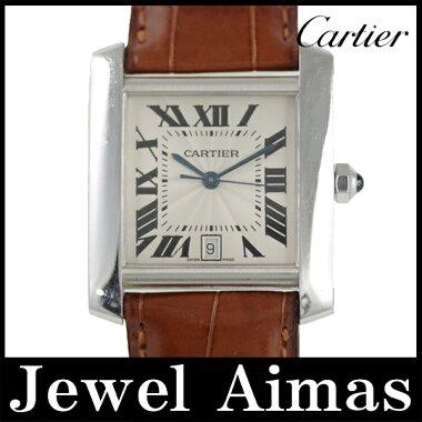 【Cartier】カルティエタンクフランセーズLMシルバー文字盤750K18WGホワイトゴールドメンズ自動巻き【】【腕時計】