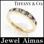 【Tiffany&Co.】ティファニー ハーフ エタニティ ダイヤ サファイア リング K18YG 7.5号【中古】