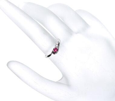 【ジュエリー】ルビー1Pダイヤモンド0.03ctリングPt900【】