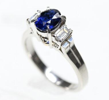 【ジュエリー】サファイア1.05ctダイヤモンド0.36ctリング11号PT900【】