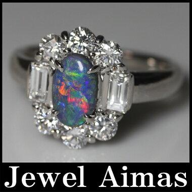 新品【ジュエリー】ブラックオパール0.58ctダイヤモンド1.181ctPT900リング15号<遊色効果>