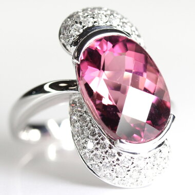 【ジュエリー】ピンクトルマリン7.96ctダイヤモンド0.69ctリングK18WG15号【】