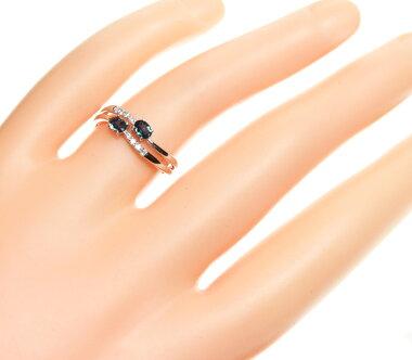 【ジュエリー】アレキサンドライト0.358ctダイヤモンド0.08ctリング11号K18WG【】ZPY
