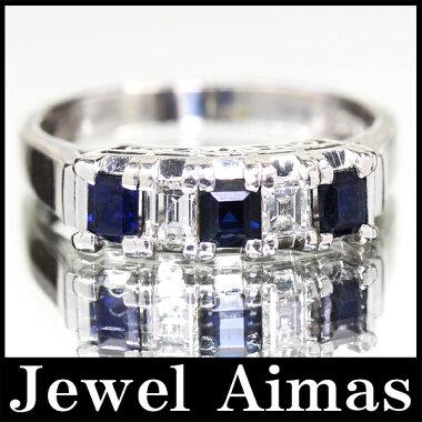 【ジュエリー】サファイア0.66ctダイヤモンド0.31ctリング14.5号PT900【】ZPY