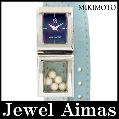 【電池交換済み】【MIKIMOTO】ミキモトマルチフォームパールブラックシェル文字盤SSステンレス青ブルー2重レザーバングルブレスウォッチレディースクォーツ【】【腕時計】