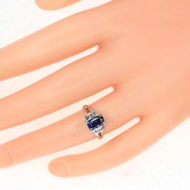 【ジュエリー】サファイアブルーサファイア1.63ctダイヤモンド0.33ctリング6号PT900【】ZPY