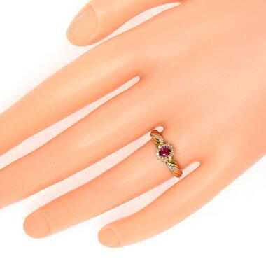 【ジュエリー】ルビー1Pダイヤモンド0.12ctリング12.5号K18YGPT900コンビ【】ZPG