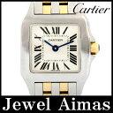 【Cartier】カルティエ サントス ドゥモワゼル 2698 ホワイト 文字盤 K18 YG イエローゴールド SS ステンレス コンビ レディース クォーツ ドゥモアゼル【中古】【腕時計】