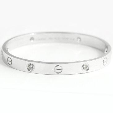 【Cartier】カルティエ ダイヤモンド 4P(約0.4ct) ラブブレスレット ハーフダイヤモンド バングル 新型 #16 K18WG ホワイトゴールド <純正ドライバー付き>【中古】MJP