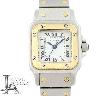 【Cartier】カルティエ サントスガルベ SM ホワイト 白 文字盤 YG イエローゴールド SS ステンレス コンビ レディース 自動巻き【中古】【腕時計】