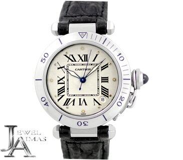 【Cartier】カルティエ パシャ 35mm デイト ローマン W3100255 アイボリー 文字盤 SS ステンレス メンズ 自動巻き ヴィンテージ アンティーク【中古】【腕時計】