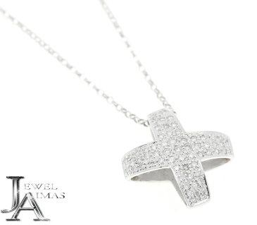 ダイヤモンド 0.75ct リバーシブル クロス X ネックレス K18WG ホワイトゴールド【中古】【ジュエリー】MEG