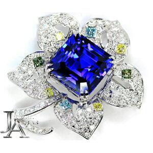 【CELINE】セリーヌ タンザナイト ブルーゾイサイト 33.43ct ダイヤモンド 1.19ct/2.9ctct(計4.09ct) ルビー 0.02ct フラワー 花 ブローチ K18WG(750WG) ホワイトゴールド【中古】ZPJE