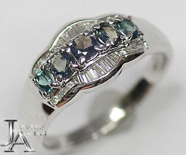 【ジュエリー】 アレキサンドライト 0.43ct ダイヤモンド 0.2ct リング 11号 PT900 サイズ直し可 【中古】