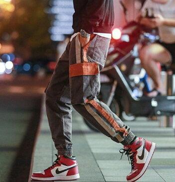カーゴパンツ 縦ライン 紐 ワイドパンツ メンズ バルーンパンツ ワイドパンツ ゆったりサイズ チェック柄 チェック パンツ ゆったり パンツ 裾絞り ダンス ワイド パンツ ウエストゴム ウエスト