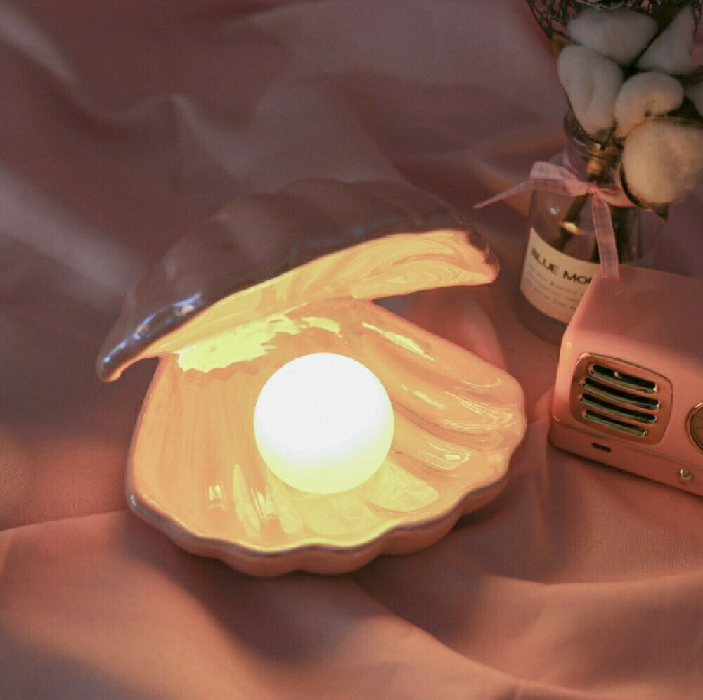 照明 ライト シェルランプ 貝殻 貝殻型ライト ナイトライト テーブルランプ 間接照明 照明器具 インテリアライト インテリアランプ LED シェル ランプ おしゃれ かわいい ベッドサイドライト 寝室ライト ルームライト 小物入れ トレー プレゼント
