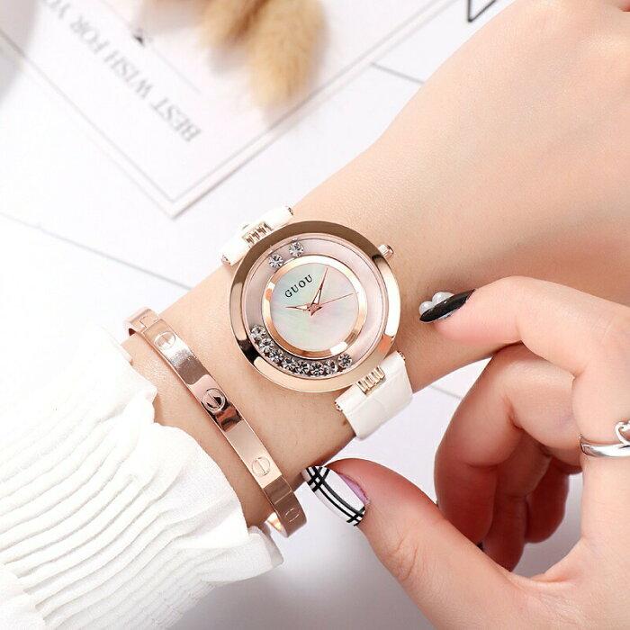 GUOU ラインストーン ホワイト ブラック ピンク ファッション腕時計 エレガント オシャレ キラキラ プレゼント かわいい カジュアル 個性的 人気