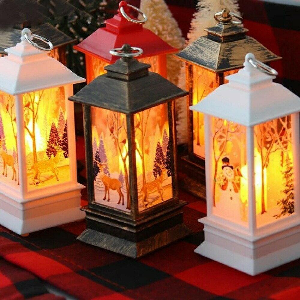 照明 ランタン クリスマス LEDランタン サンタ ポータブルランタン ホワイトorレッド ボタン電池式ライト LEDランプ クリスマス装飾用 クリスマスパーティー ガーデン屋外 クリスマス Xmas Christmas LED 光 光る ランタン ランプ 装飾画像