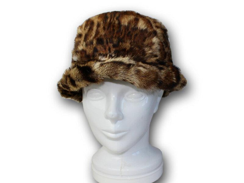 毛皮帽子 レオパード ファー帽子:革製品と毛皮のエアーマミー