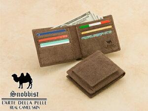 珍しいラクダ革を使用したお財布です。 駱駝革 二つ折り財布 二つ折札入れ 小銭入れ付き、カード…