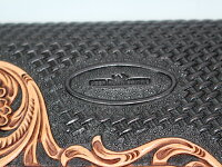 本革製ロングウォレット(ウォレットチェーン&キーホルダーセット)カンガルーレザーステッチ付きシルバーコンチョ付きバイカーズウォレットディアホーンスミス【送料無料】