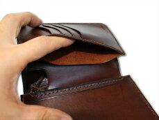本革製2つ折り財布小銭入れ付き縦型クラフトディアホーンスミス【送料無料】