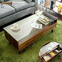 テーブル ローテーブル リビングテーブル 引き出し ガラステーブル センターテーブル 収納 ディスプレイ シンプル モダン 北欧 木製 シンプル ガラス おしゃれ かわいい ローテーブル Rolf〔ロルフ〕 ブラウン