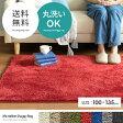 ラグ マット ラグマット シャギーラグ 洗える 夏 北欧 おしゃれ モダン カーペット ホットカーペット対応 シンプル 100×135 グリーン 緑 長方形 スクエア シャギー 絨毯 じゅうたん リビングラグ