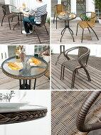 ガーデンテーブルセットガーデンテーブル3点セットラタンガーデンチェアガーデンテーブルセットガラステーブルベランダおしゃれ人気送料無料BOOTGARDEN〔ボットガーデン〕テーブル・チェア3点セットブラウンナチュラル