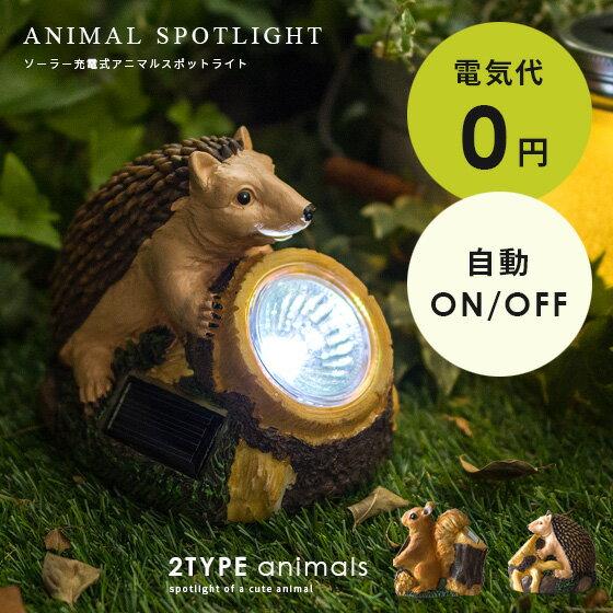ライト 照明 ガーデン 庭 玄関 置き物 動物 ソーラー電池 ANIMAL SPOT LIGHT〔アニマルスポットライト〕 リス ハリネズミ