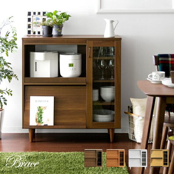 レンジ台 レンジラック 大型レンジ対応 レンジボード 食器棚 キッチンカウンター キッチンボード キッチン収納 木製 北欧 キッチン 収納 棚 キャビネット おしゃれ かわいい レトロ ミッドセンチュリー 白 ホワイト Brace Kitchen cabinet