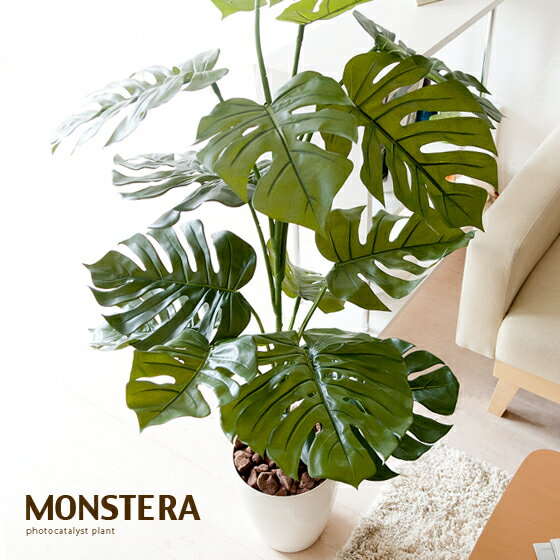 光触媒 人工観葉植物 モンステラ 120cm グリーン