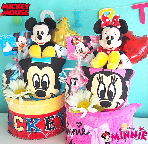 おむつケーキディズニーdisney出産祝いミッキーミニー 土曜日営業 ベビーギフト  パンパース25枚 男の子女の子オムツケーキ