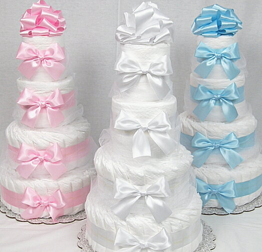 今なら 10倍 おむつケーキ 4段 土曜日 営業  人気ナンバー1 パンパース59枚 出産祝い/ベビーギフト・男の子女の子売れ筋