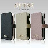 GUESS (ゲス) iPhone7 アイフォン7 ケース 手帳型 【 サフィアーノ 調 アイフォン7ケース PUレザー iPhone7ケース ブックタイプ 上品 シンプル レディース ブランド 大人 かわいい ゴールドロゴ iPhoneケース スマホケース】 公式ライセンス品