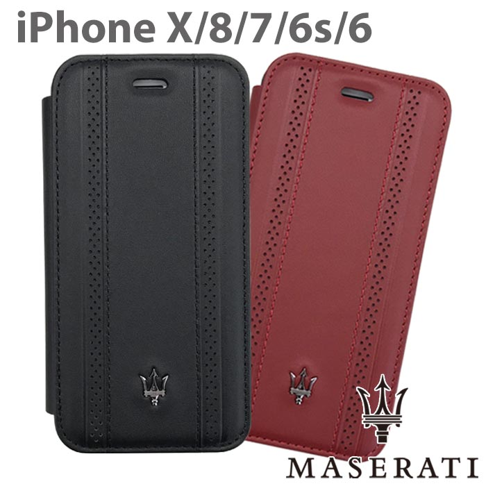 MASERATI マセラティ 公式ライセンス品 iPhoneケース iPhoneXS iPhoneX iPhone8 iPhone7 iPhone6s iPhone6 iPhone SE(2020第2世代) にも対応 本革 手帳型ケース アイフォンX アイフォン8 アイフォン7 ブックタイプ レザー レッド ブラック 【送料無料】