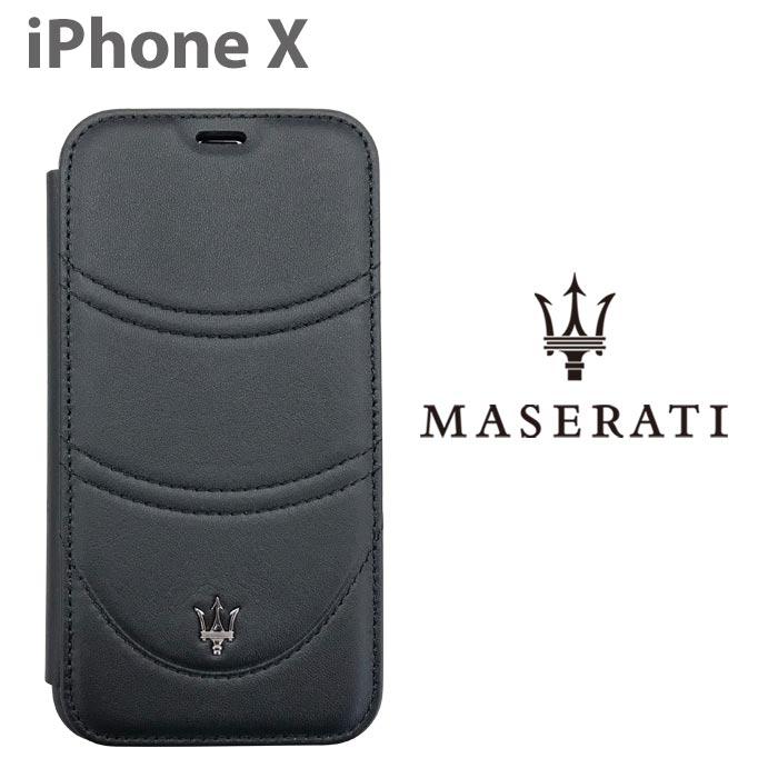 MASERATI マセラティ 公式ライセンス品 iPhoneケース iPhoneXS iPhoneX 本革 手帳型ケース アイフォンX レザー ブラック シンプル カーブランド スマホケース ビジネス メンズ 【送料無料】