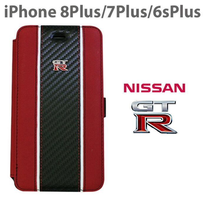 1b37584553 日産 GT-R 公式ライセンス品iPhone8Plus iPhone7Plus 6sPlus 手帳型ケース 【 本革