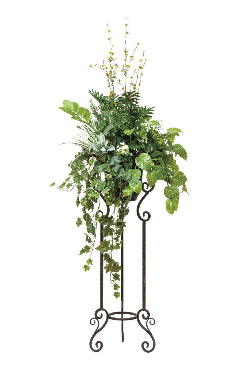 人工観葉植物 光の楽園 ミックスグリーンスタンドM1.45 503A430【造花/フェイク/リビング/玄関/アートフラワー/インテリアグリーン】:あいる