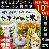 福島県産・会津産コシヒカリ(玄米)会津がんこ米5kg送料無料