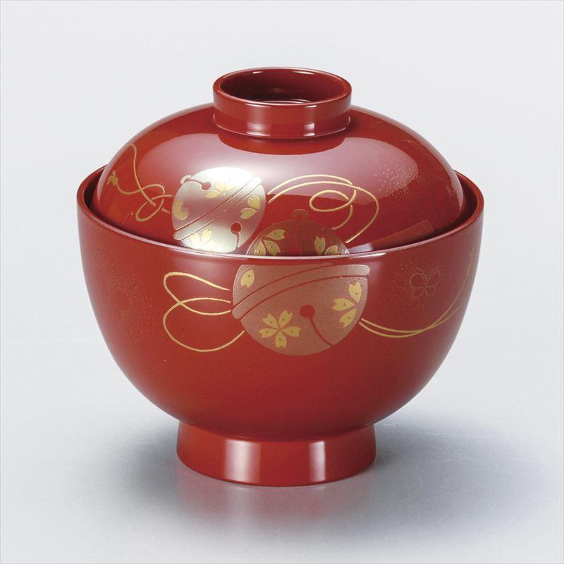 朱 京 吸椀 鈴に蝶 木粉 会津漆器 (日本製・国産 実寸:φ11×11cm )