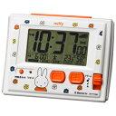 リズム時計【ミッフィー R126 電波デジタル 温湿度計付 目覚まし時計】環境目安表示付 白 8RZ126MM03【楽ギフ_包装選択】