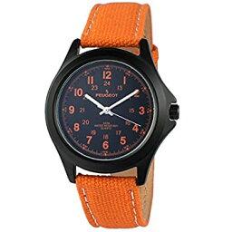 【中古】【輸入品・未使用】[プジョー] Peugeot 腕時計 Black Aviator 24Hr Time MarkersWater-Resistant with Orange Canvas Strap アナログ クォーツ 2055OR 【並行輸入品