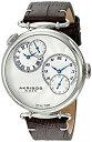 【中古】【輸入品・未使用】Akribos XXIV Men 's ak796ssbr Dual TimeクオーツMovement Watch with Silver Dial andダークブラウンとクリームステッチレザーストラップ